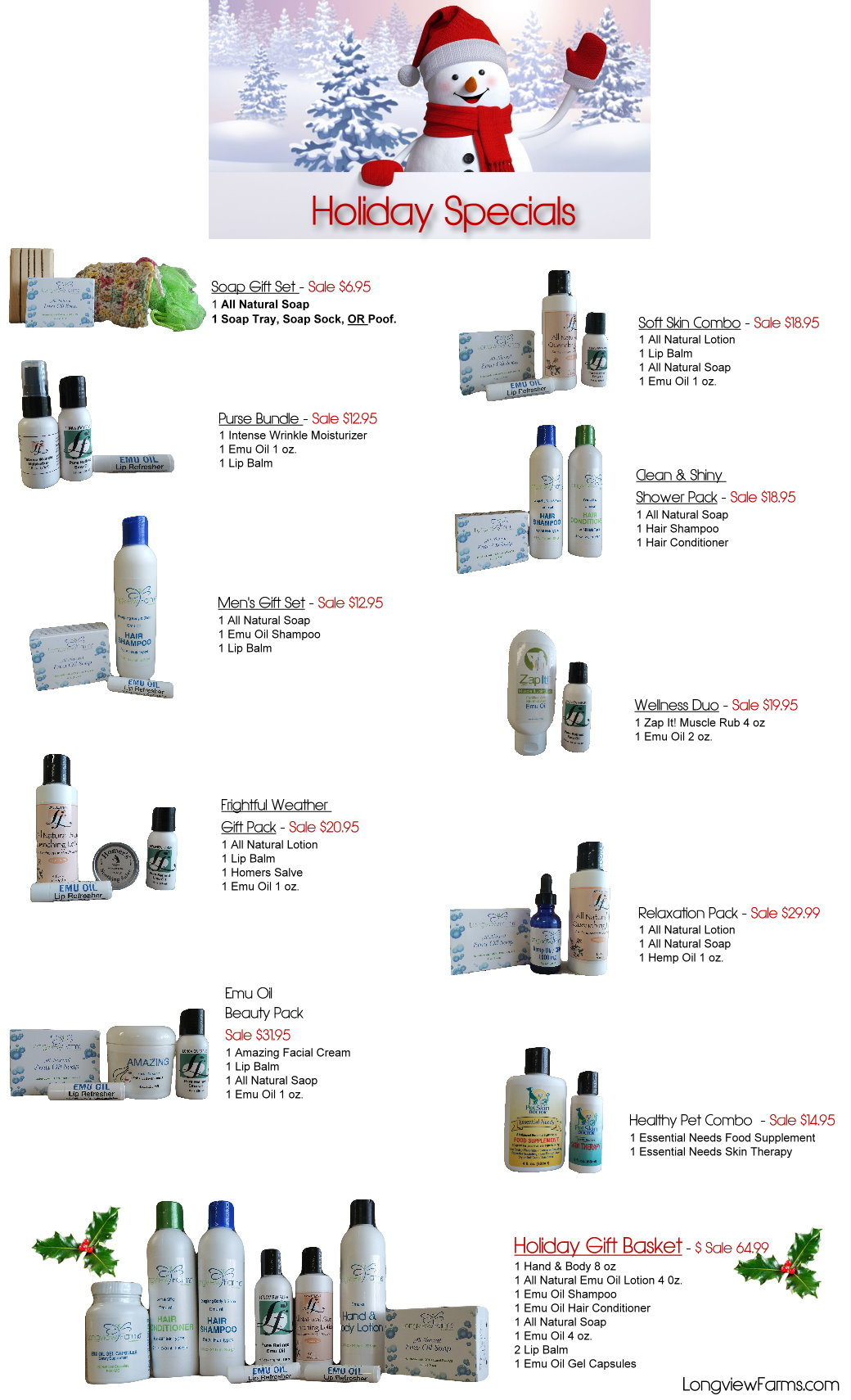 Gifts for Christmas of Emu Oil products from LongviewFarms.com. Gifts and Gift baskets