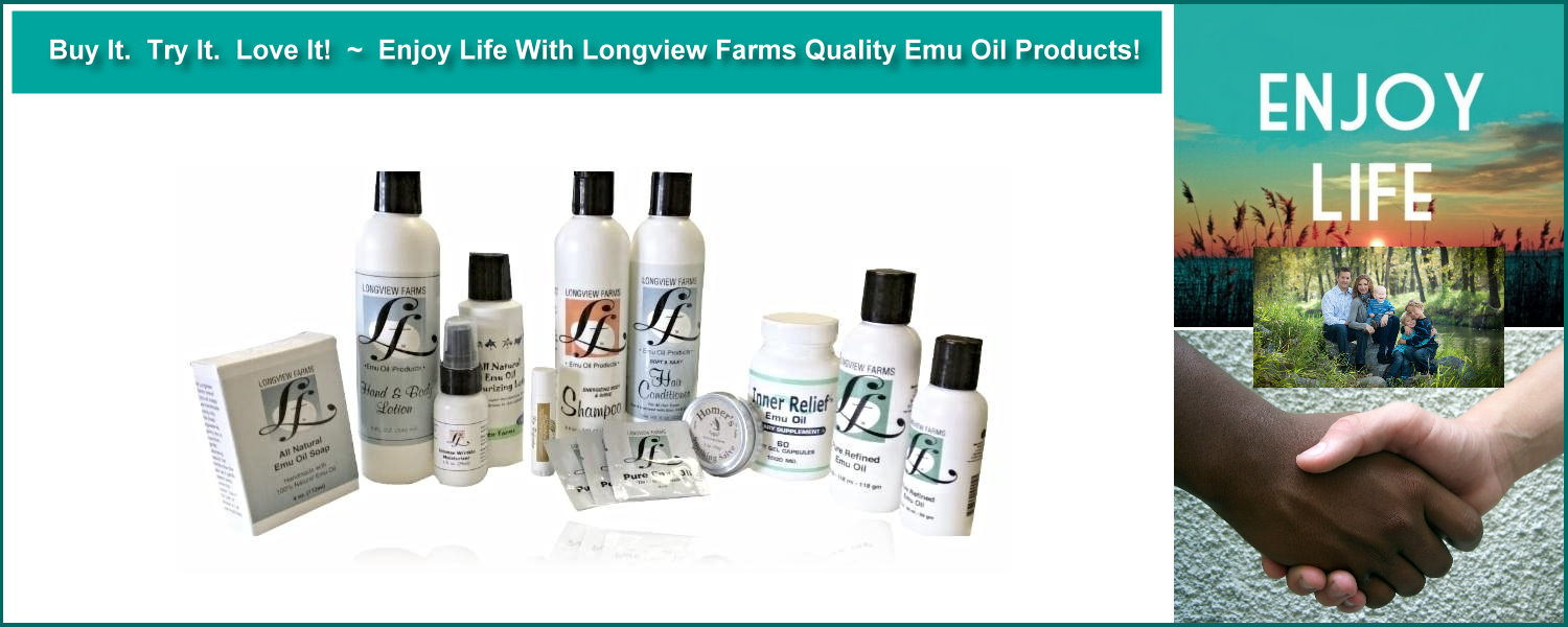 Emu oil products from LongviewFarms.com for beauty and health.