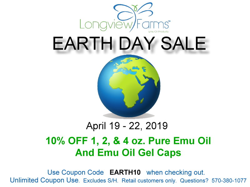Earth Day Emu oil sale.  Save when shopping